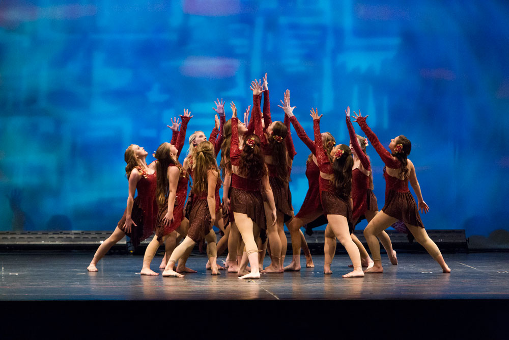 A group of Tallahassee dancers perform a lyrical dance routine during the Sharon Davis School of Dance recital.