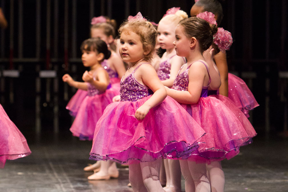 Three year old, pre-ballet dancers, called KinderKapers, take the stage at the Sharon Davis School of Dance recital in Tallahassee.