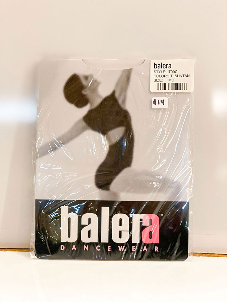 A package of balera dancewear tights for sale at Sharon Davis School of Dance in Tallahassee.