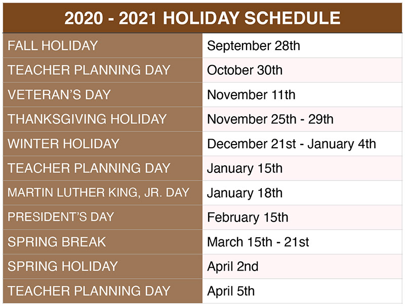 The 2019-2020 holiday schedule for Sharon Davis School of Dance in Tallahassee, Florida.