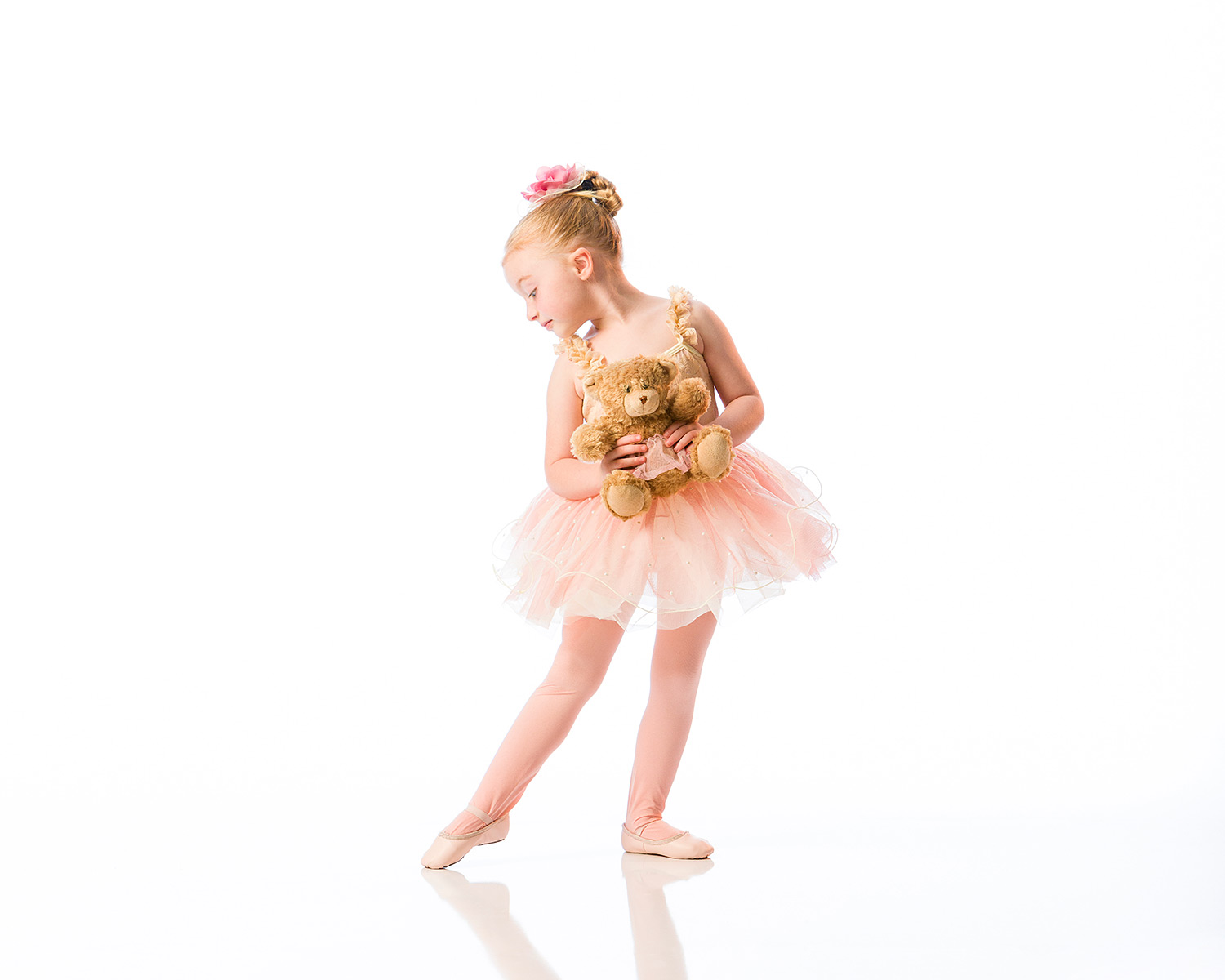 A young ballerina in a tutu points her toe. Sharon Davis School of Dance is now offering online/virtual dance classes.