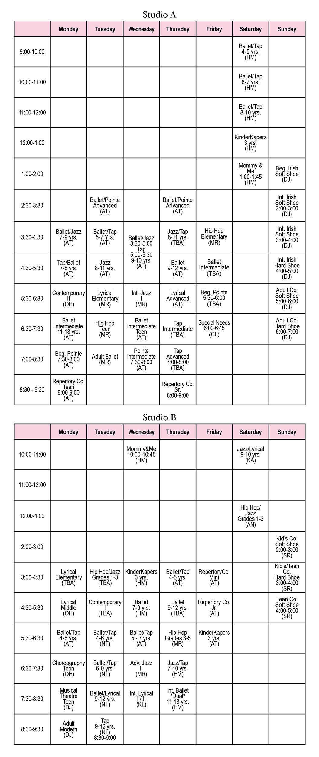 Dance class schedule for 2020-2021 at Sharon Davis School of Dance in Tallahassee, Florida.